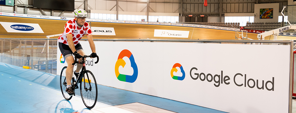a Google employee riding on the Velodrome track