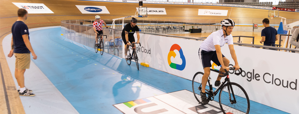 picture of cyclist riding on the velodrome track