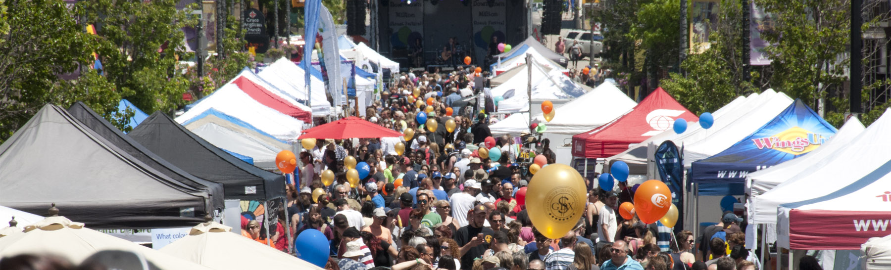 downtown milton street festival overhead shot of the tents and crowds