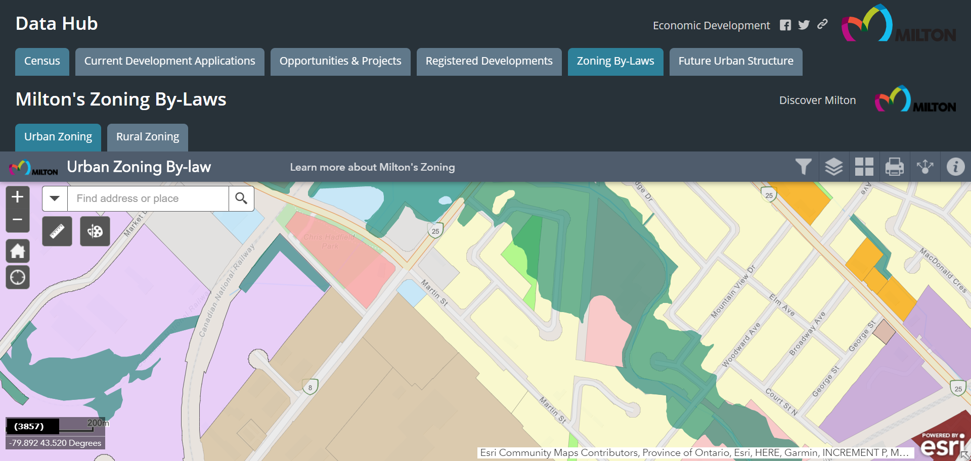 Picture of Data Hub on Zoning By-Laws tab