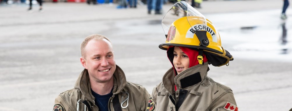 Firefighter with child