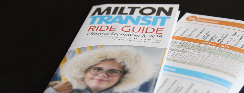 the Milton Transit Ride Guide brochure