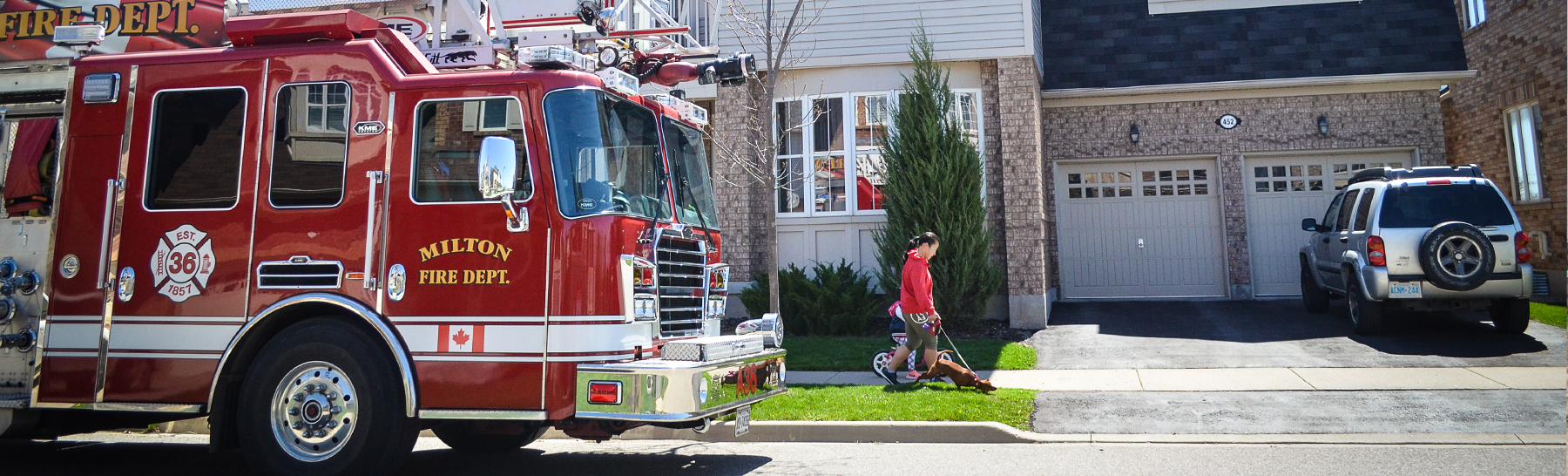 Town of Milton Fire Truck on a neighbourhood street